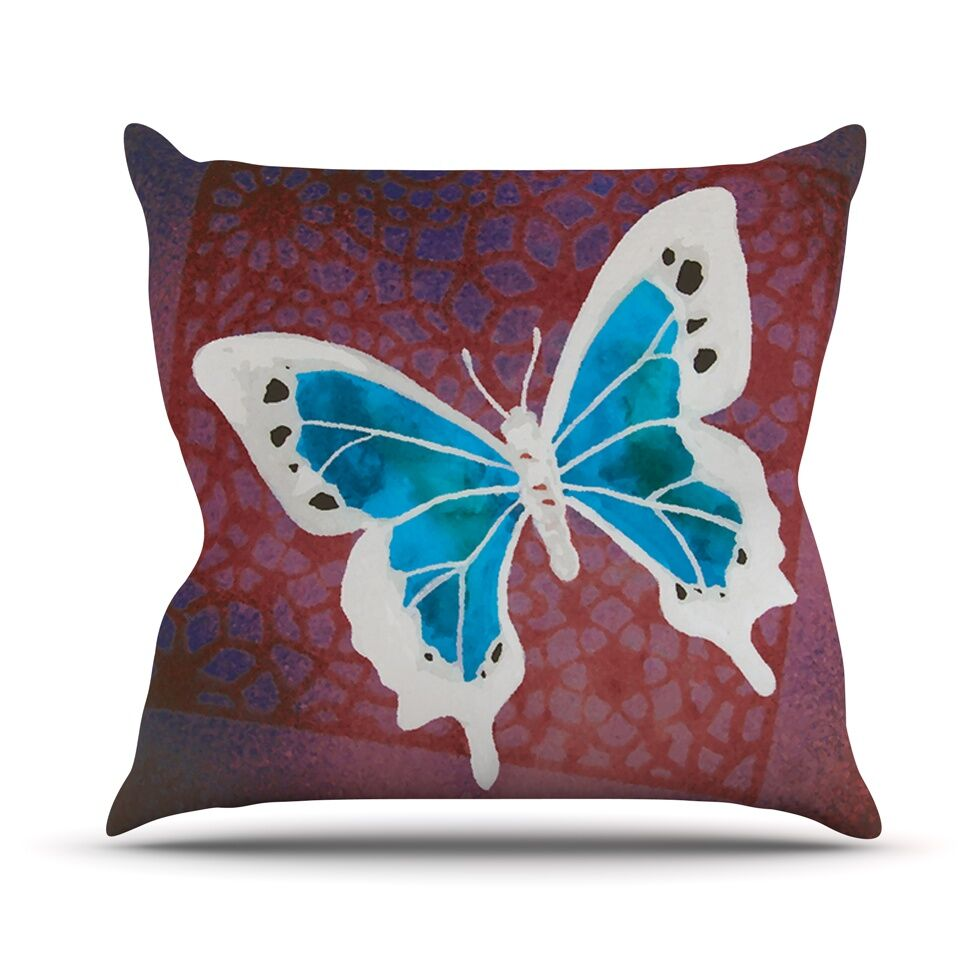 Flutter Throw Pillow Color: Teal, Size: 26'' H x 26'' W
