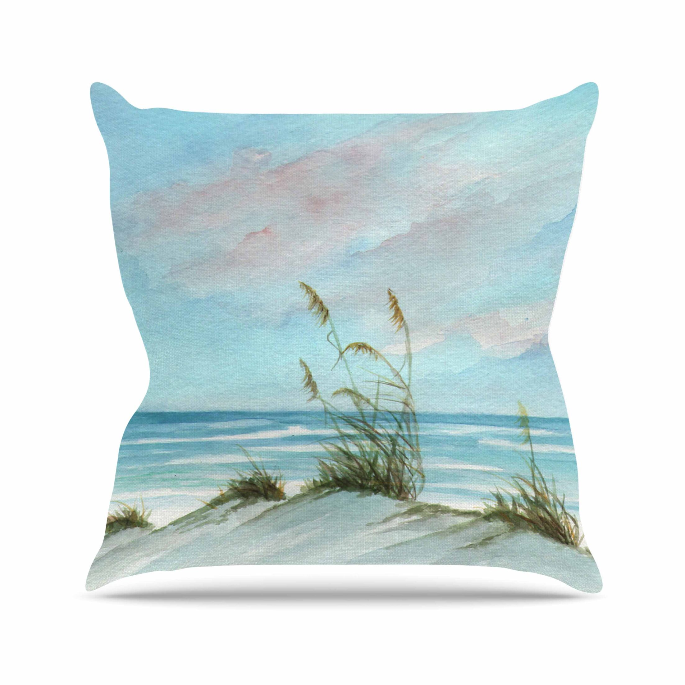 Sea Oats Outdoor Throw Pillow Size: 16