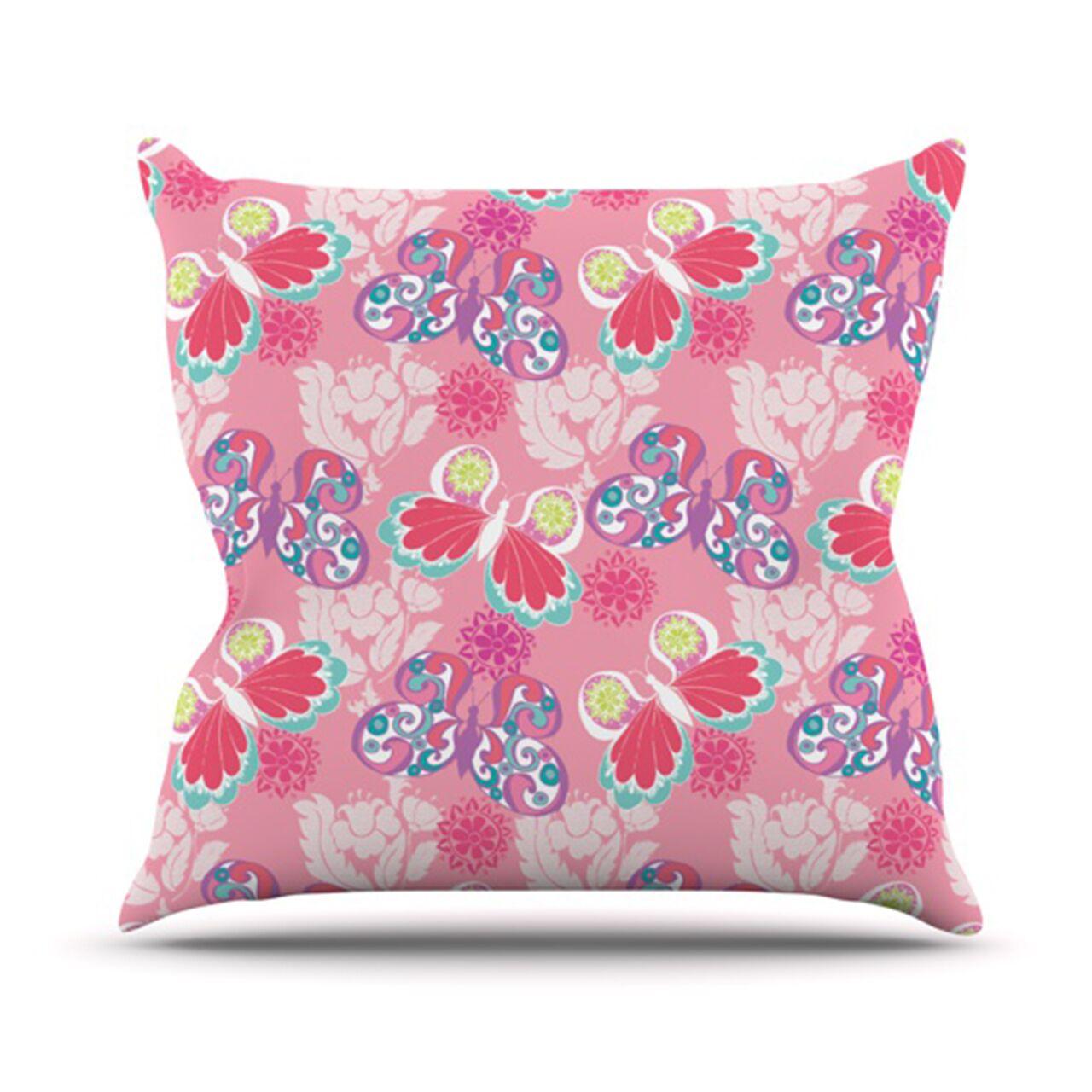 Baroque Butterflies Throw Pillow Size: 20