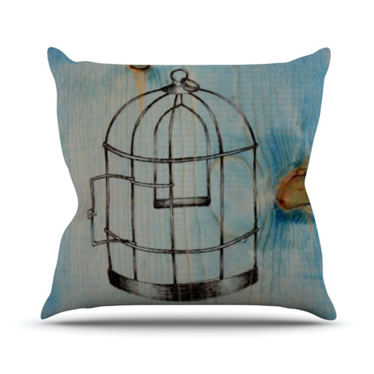 Bird Cage Throw Pillow Size: 26