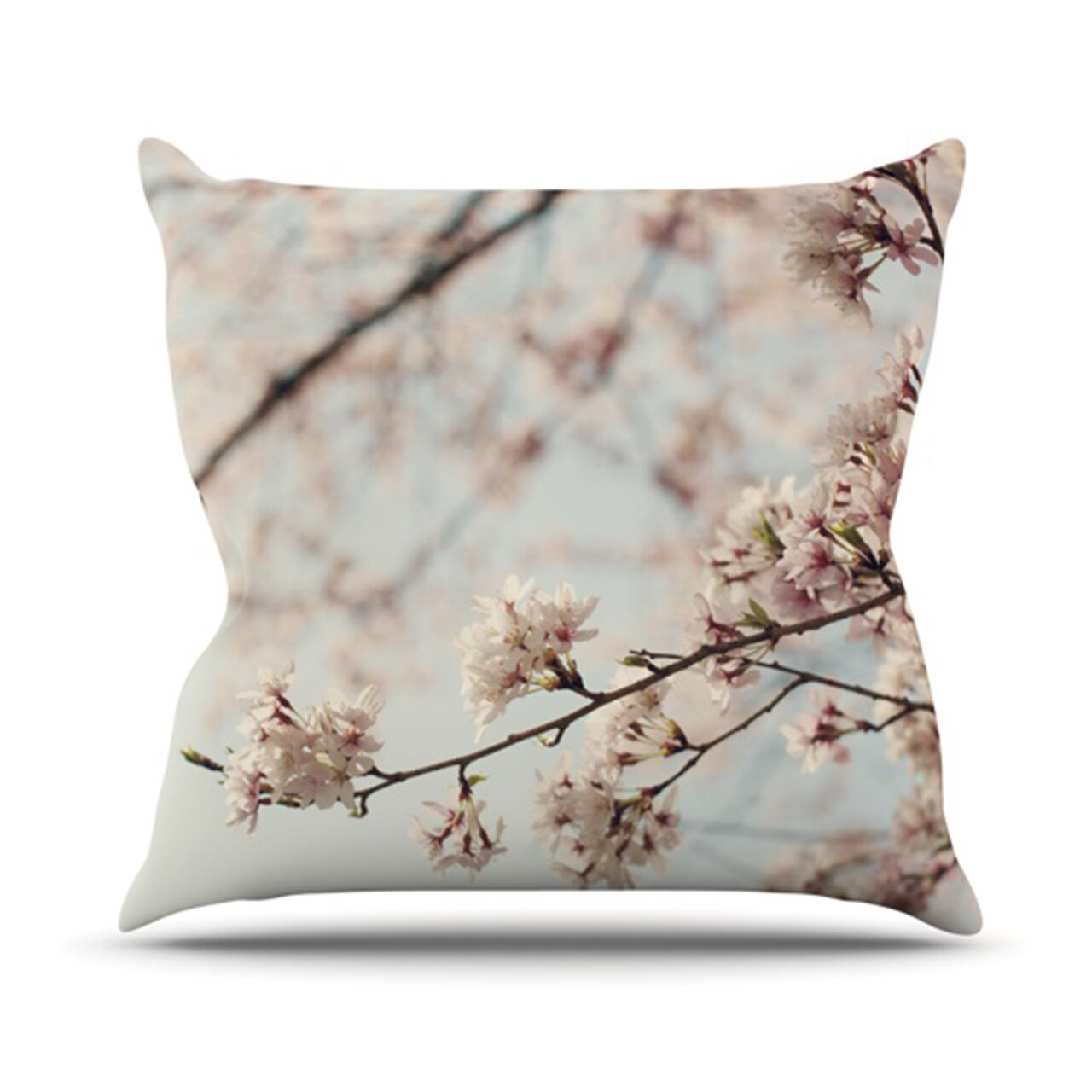 Japanese Blossom Throw Pillow Size: 26