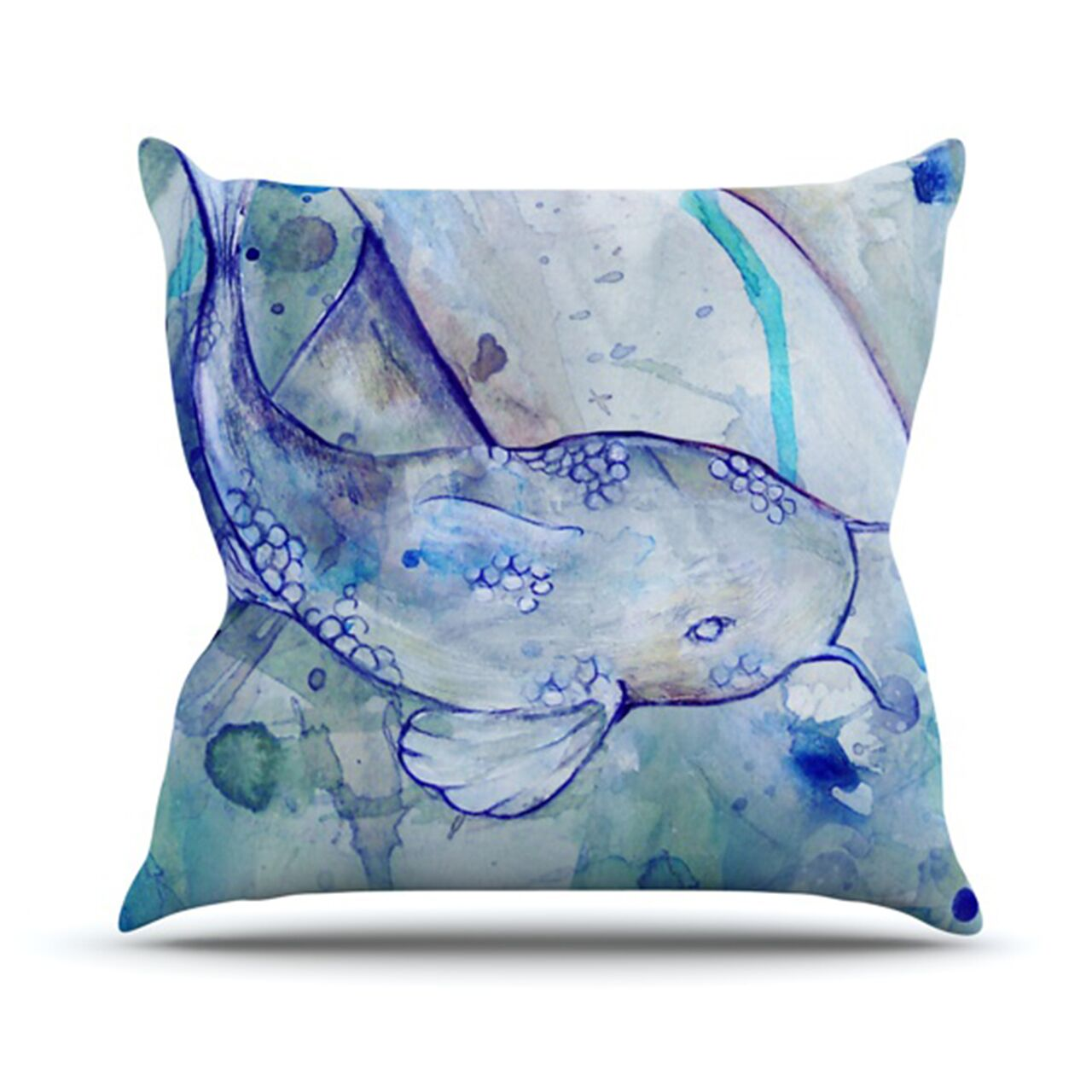 Koi Playing Throw Pillow Size: 26