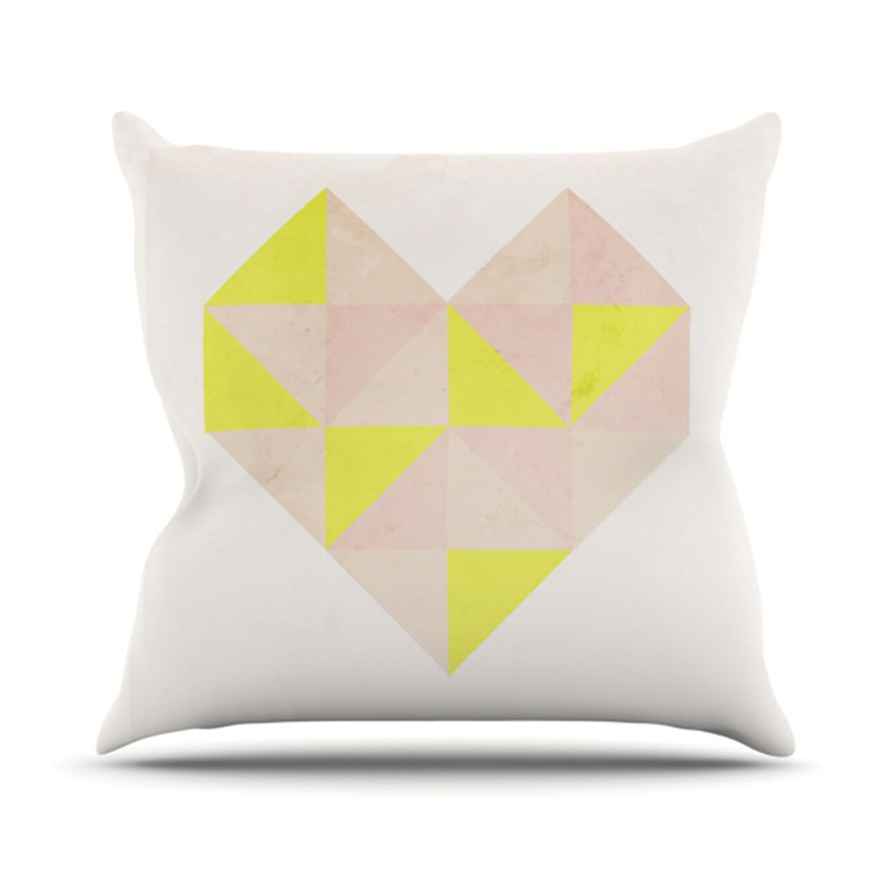 Geo Heart Throw Pillow Color: Pink, Size: 18