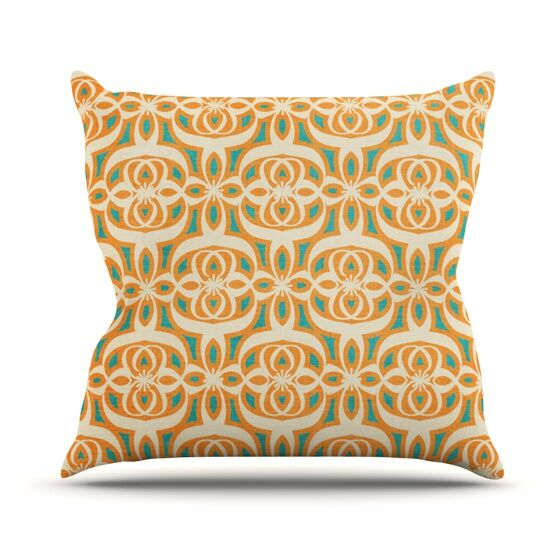 Swan Lake Turquoise by Catherine McDonald Throw Pillow Size: 18'' H x 18'' W x 1