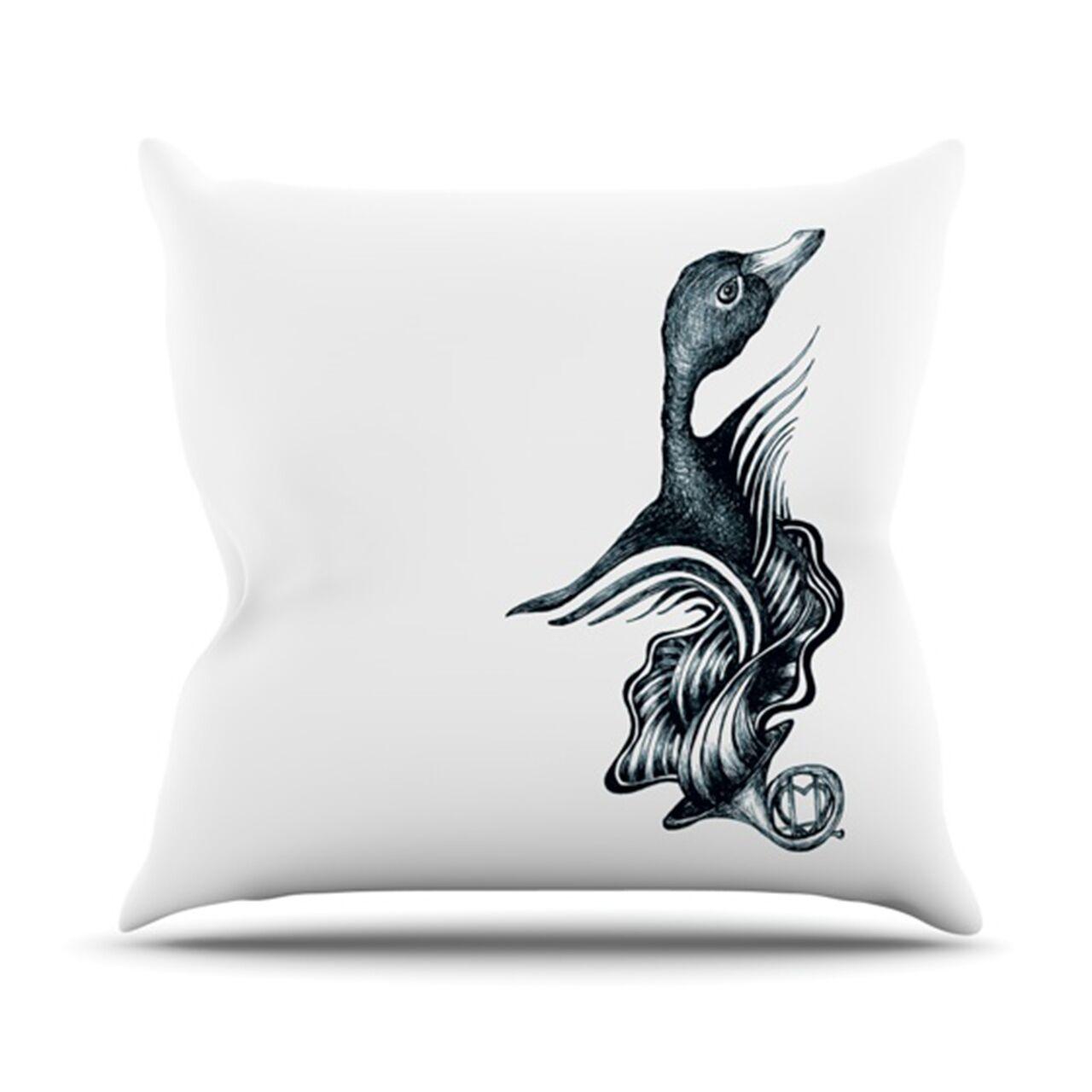Swan Horns Throw Pillow Size: 26