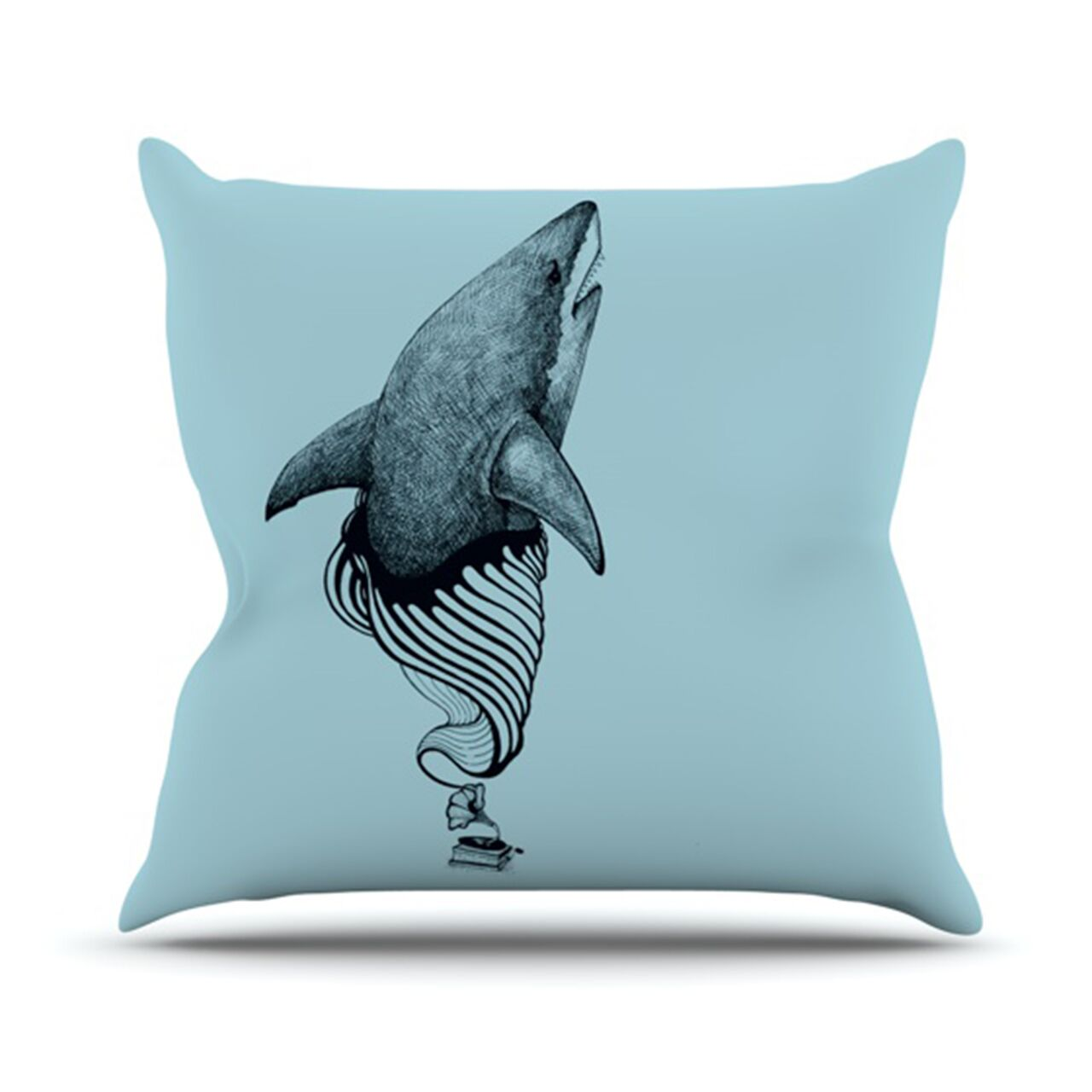 Shark Record II Throw Pillow Size: 26