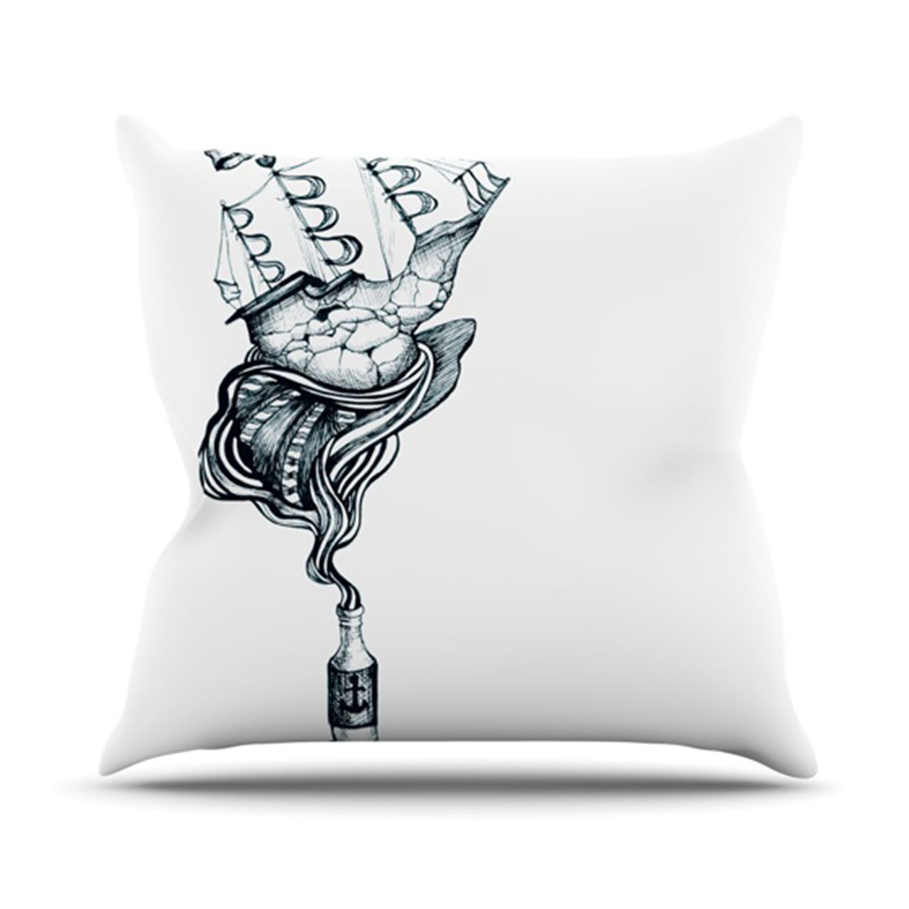 All Aboard Throw Pillow Color: White, Size: 26