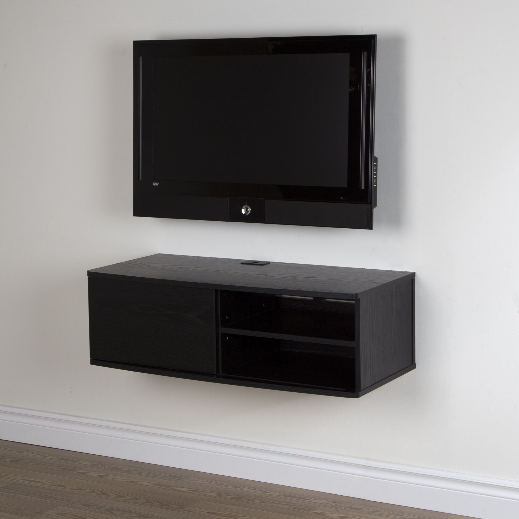 Agora Wall Mounted Media Console Color: Black Oak