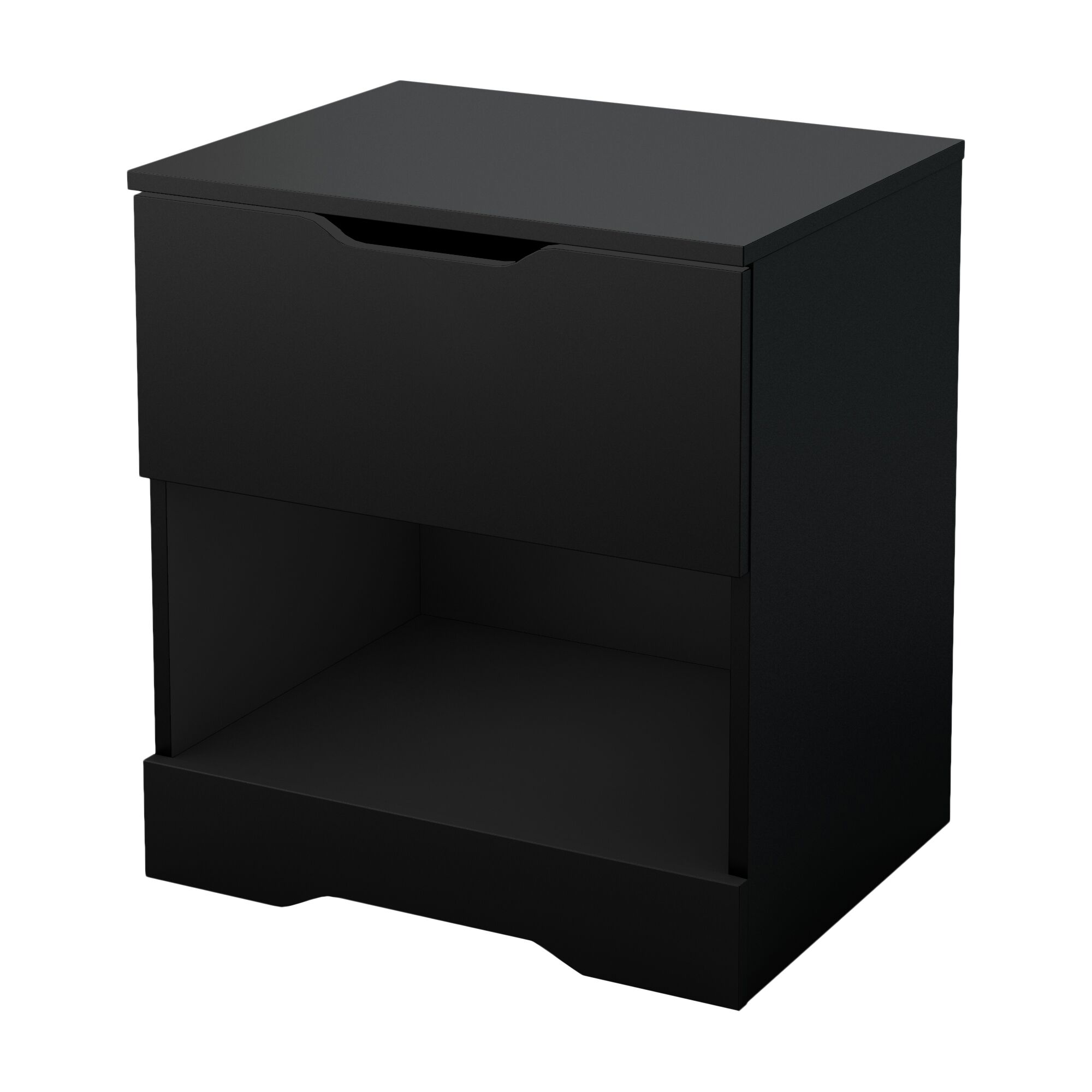 Holland 1 Drawer Nightstand Color: Pure Black