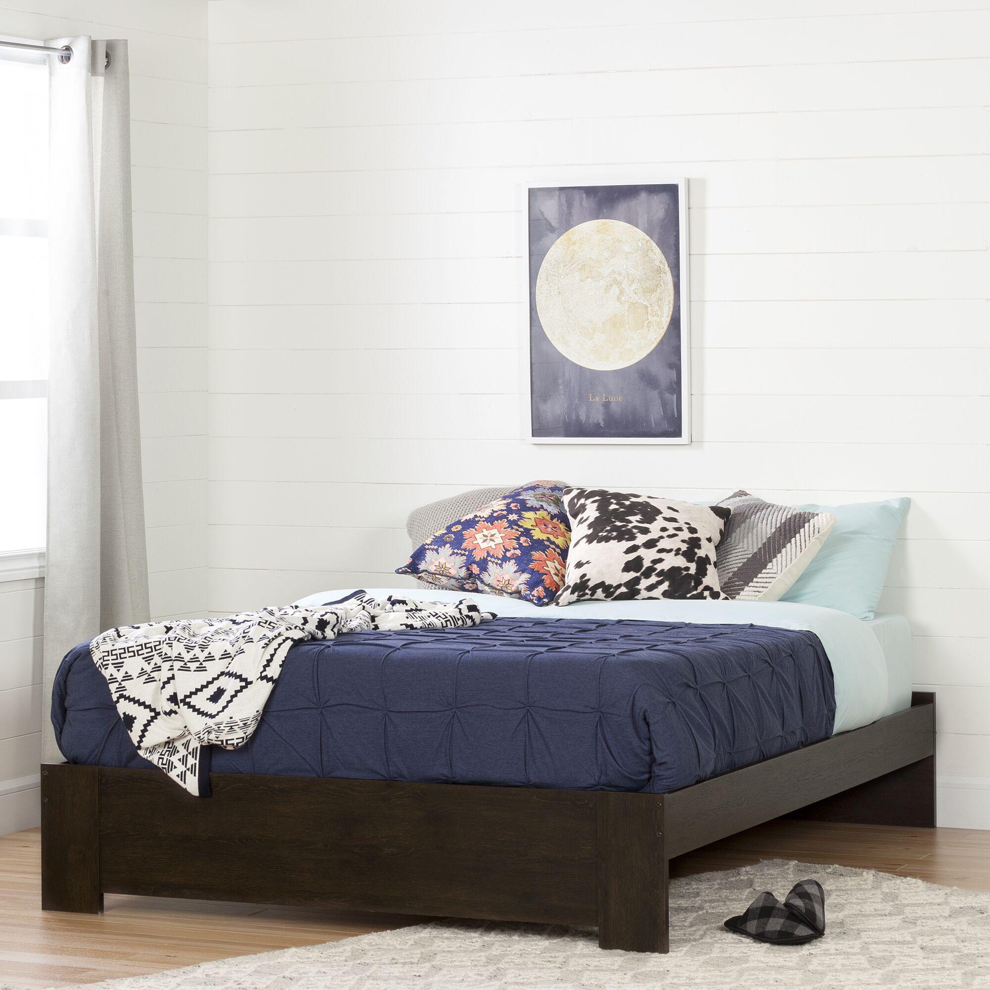 Flexible Queen Platform Bed Color: Brown Oak