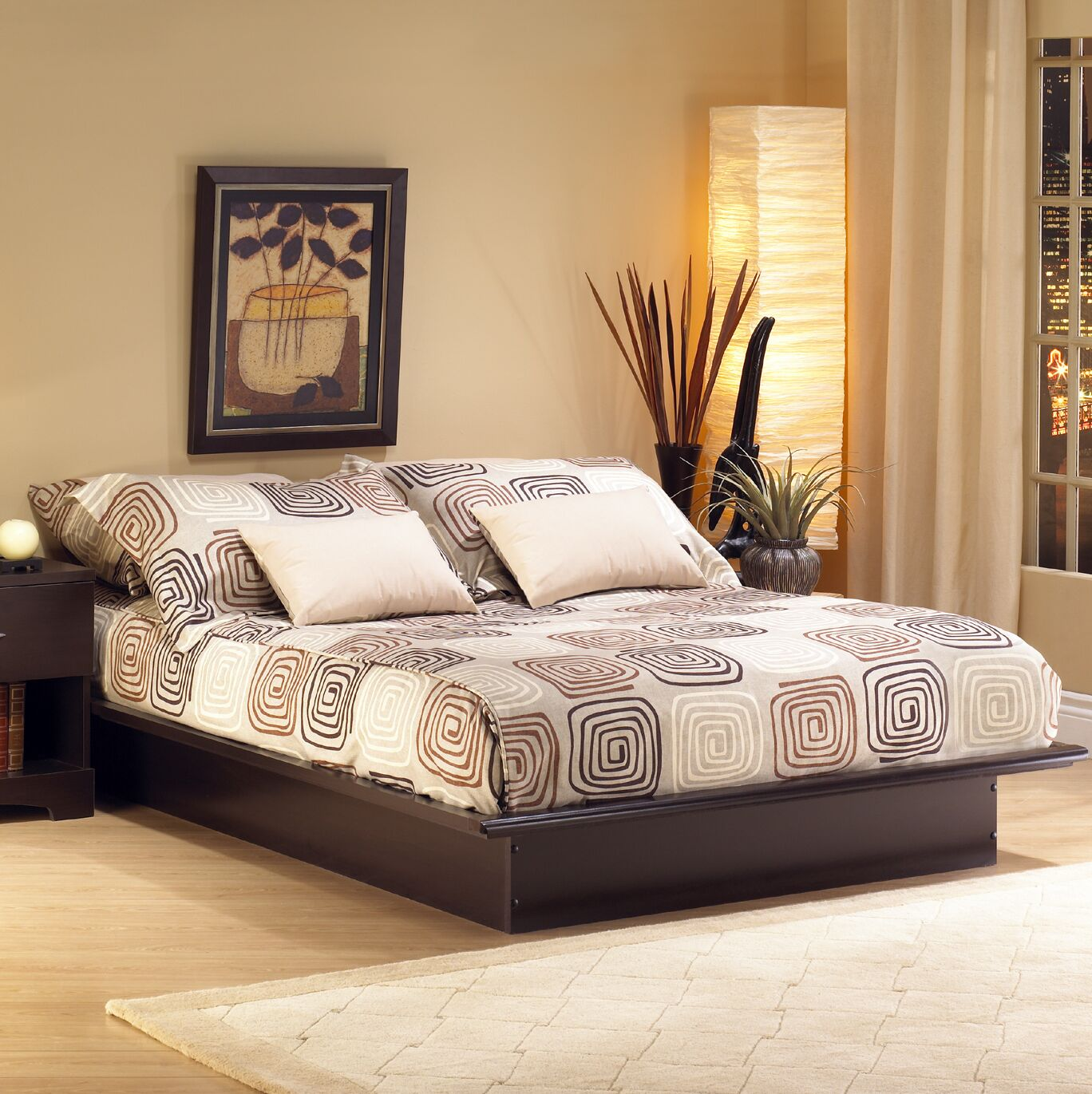 Step One Platform Bed Size: King, Color: Chocolate