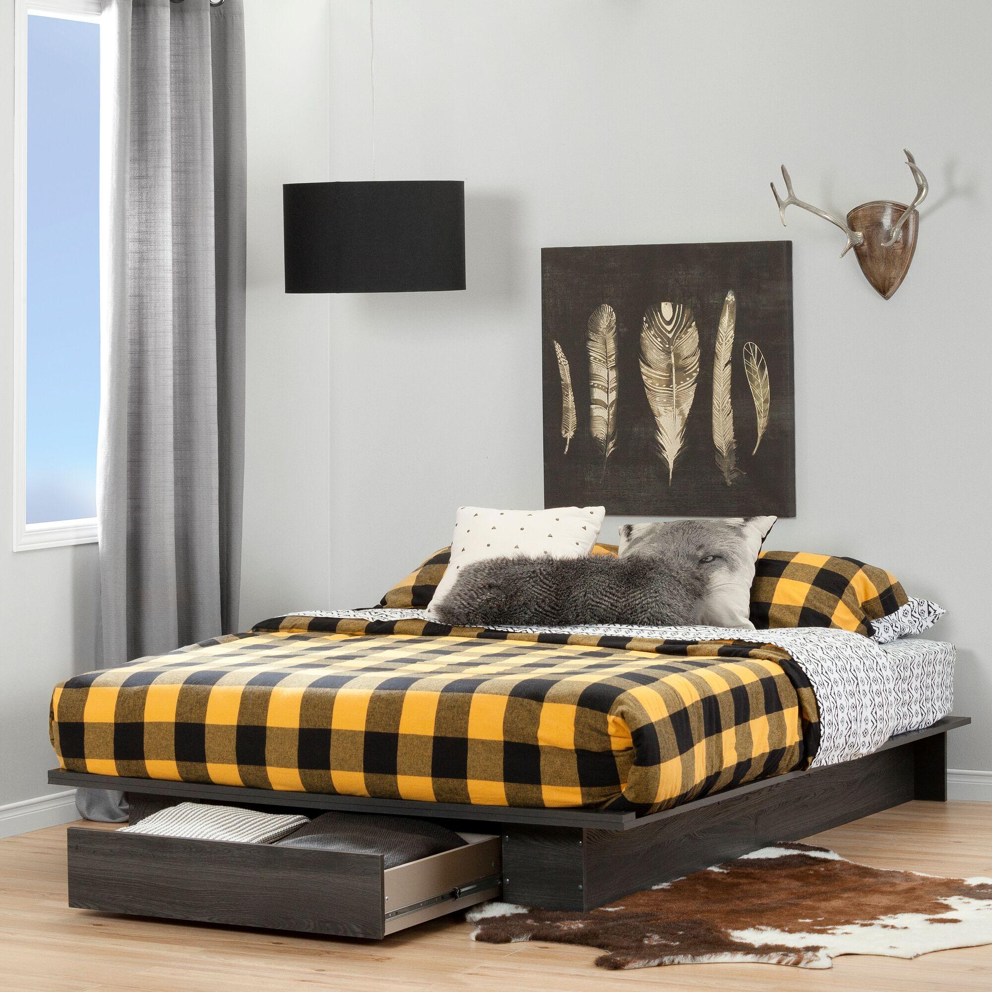 Holland Queen Platform Bed Color: Gray Oak