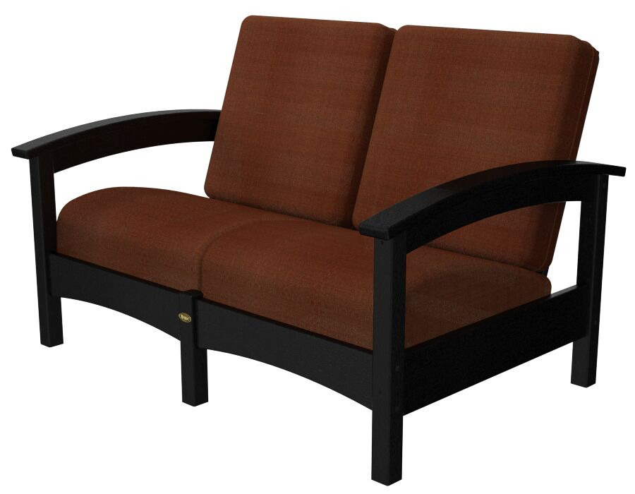 Rockport Club Deep Seating Sofa with Cushions Color: Charcoal Black / Chili