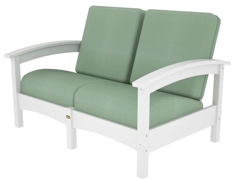 Rockport Club Deep Seating Sofa with Cushions Color: Classic White / Spa