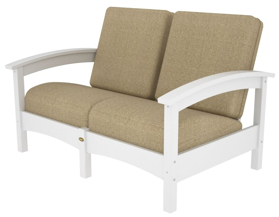 Rockport Club Deep Seating Sofa with Cushions Color: Classic White / Sesame