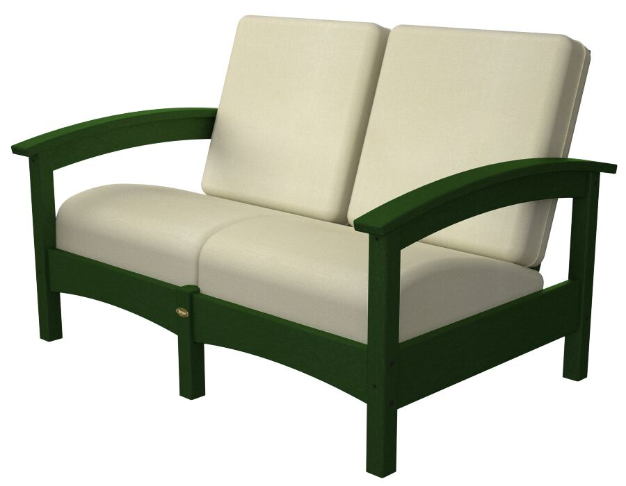 Rockport Club Deep Seating Sofa with Cushions Color: Rainforest Canopy / Bird's Eye