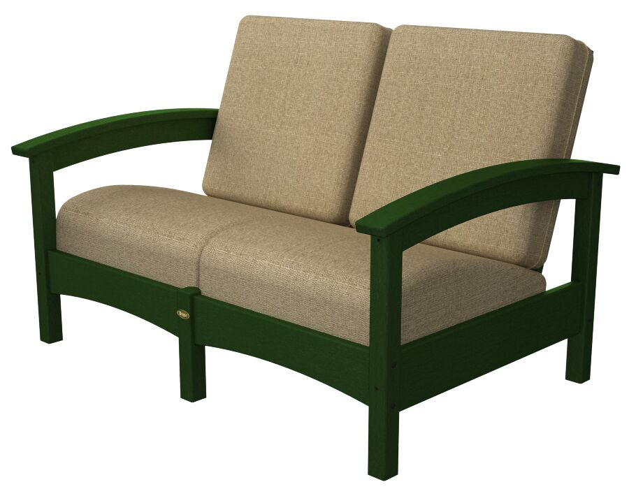 Rockport Club Deep Seating Sofa with Cushions Color: Rainforest Canopy / Sesame