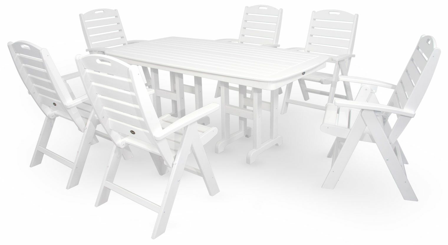 Yacht Club 7 Piece Dining Set Color: Classic White