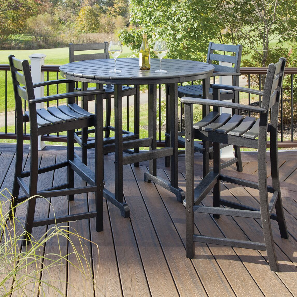 Monterey Bay 5 Piece Bar Height Dining Set Color: Charcoal Black