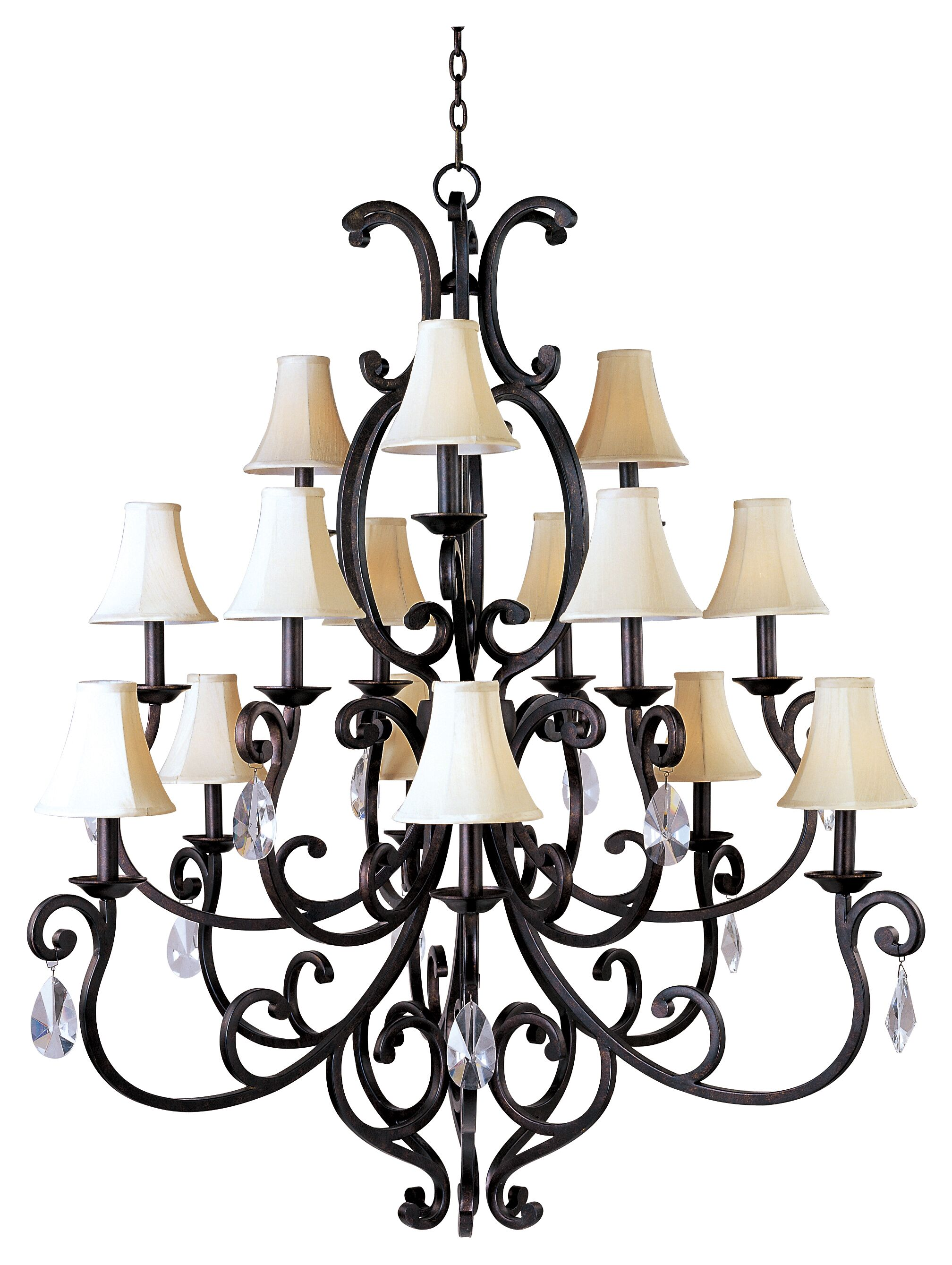 Wiltse 15-Light Shaded Chandelier Shade: No, Crystal Type: Large