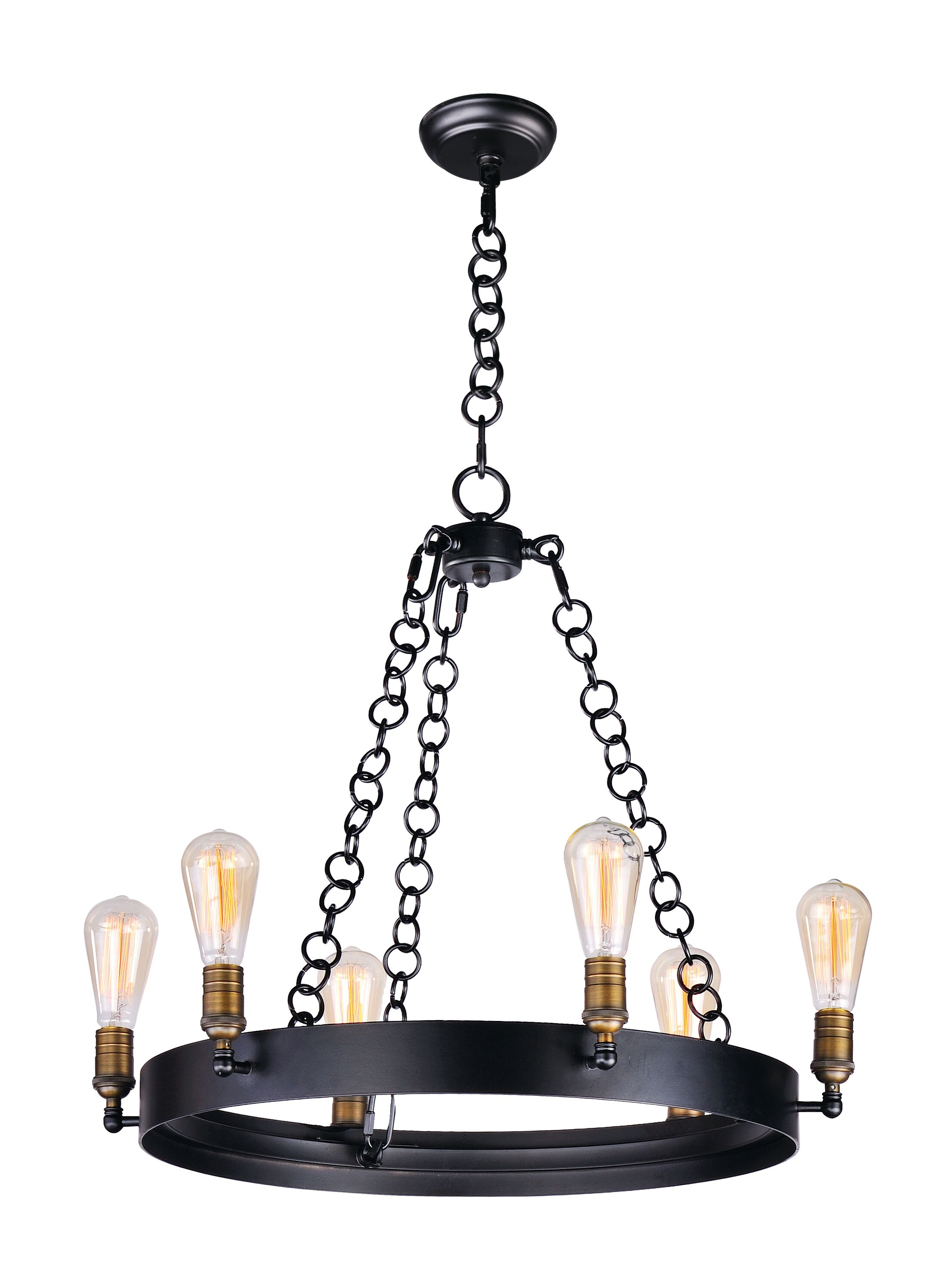 Harpa 6-Light Wagon Wheel Chandelier Bulb Type: MB ST64