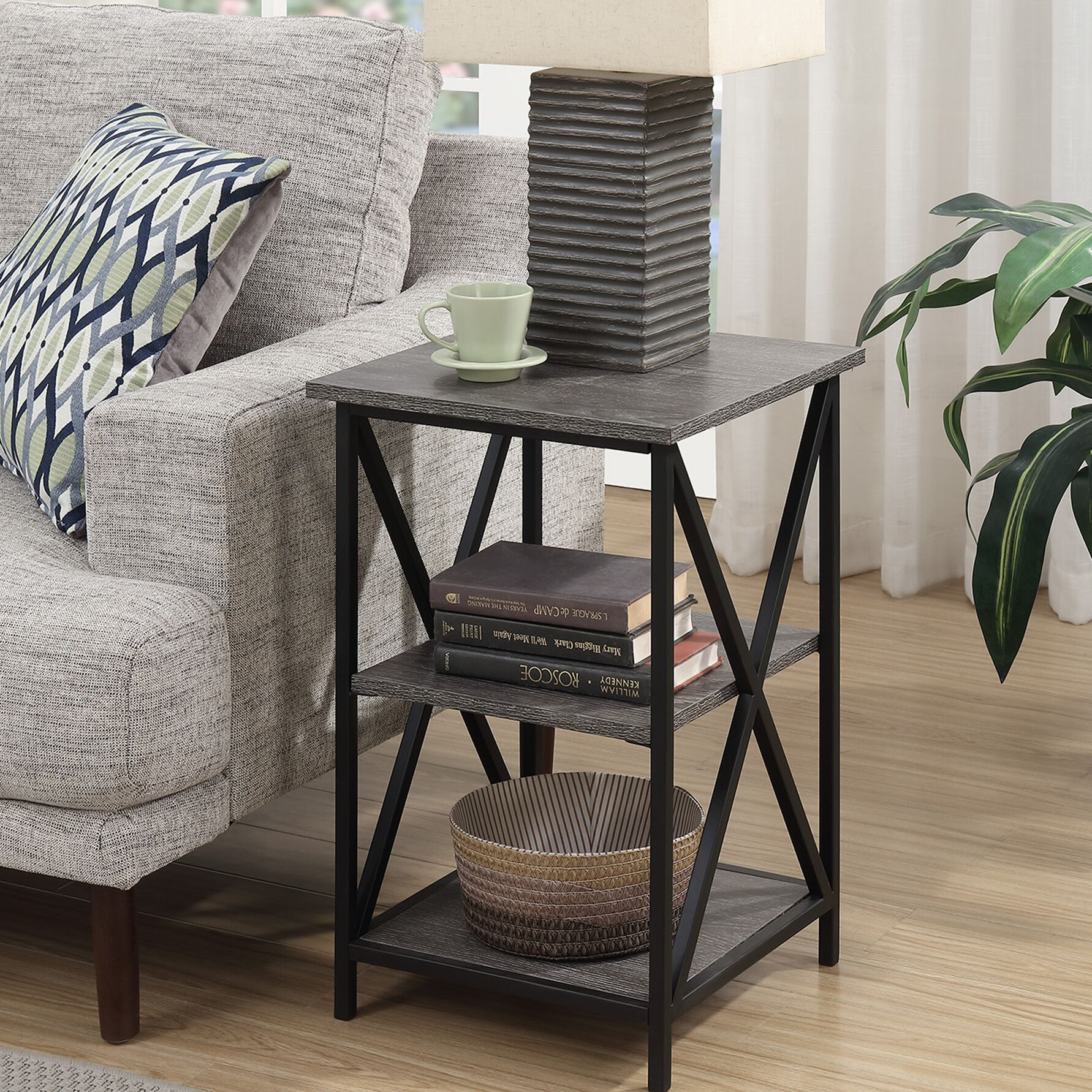 Creeksville End Table With Storage Color: Gray