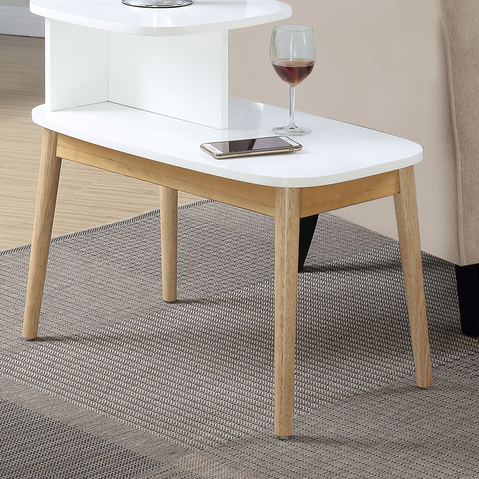 Darcey Mid-Century End Table Color: Natural/White