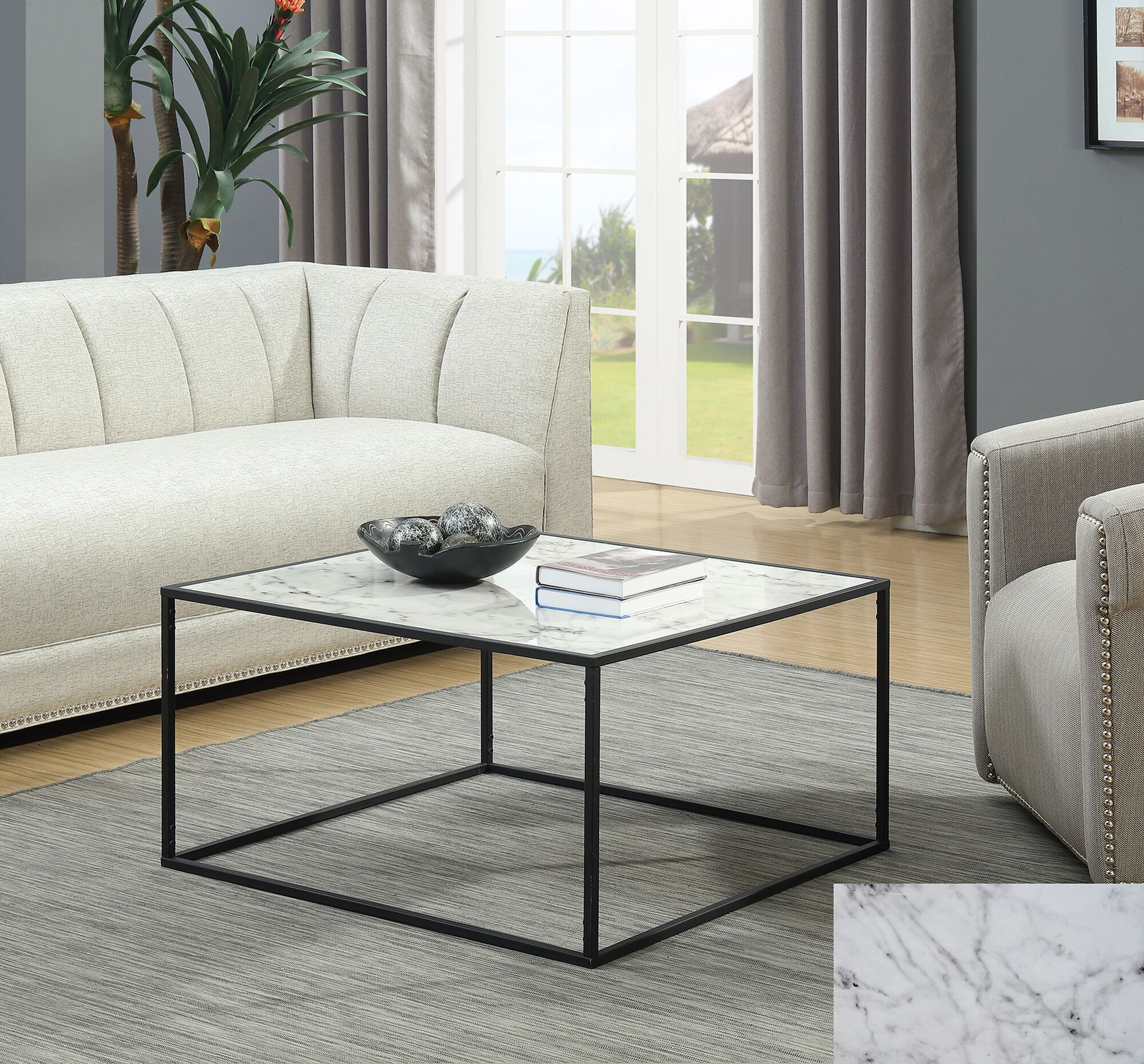 Theydon Coffee Table Color: White/Black