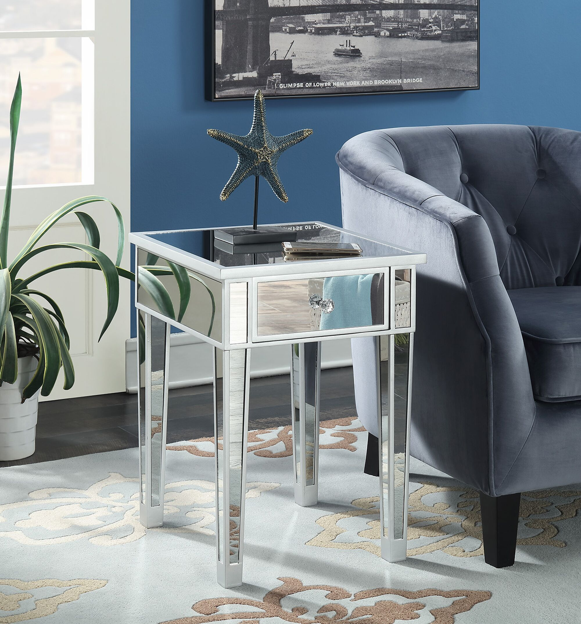 Claybrooks Mirrored End Table with Drawer Color: Silver