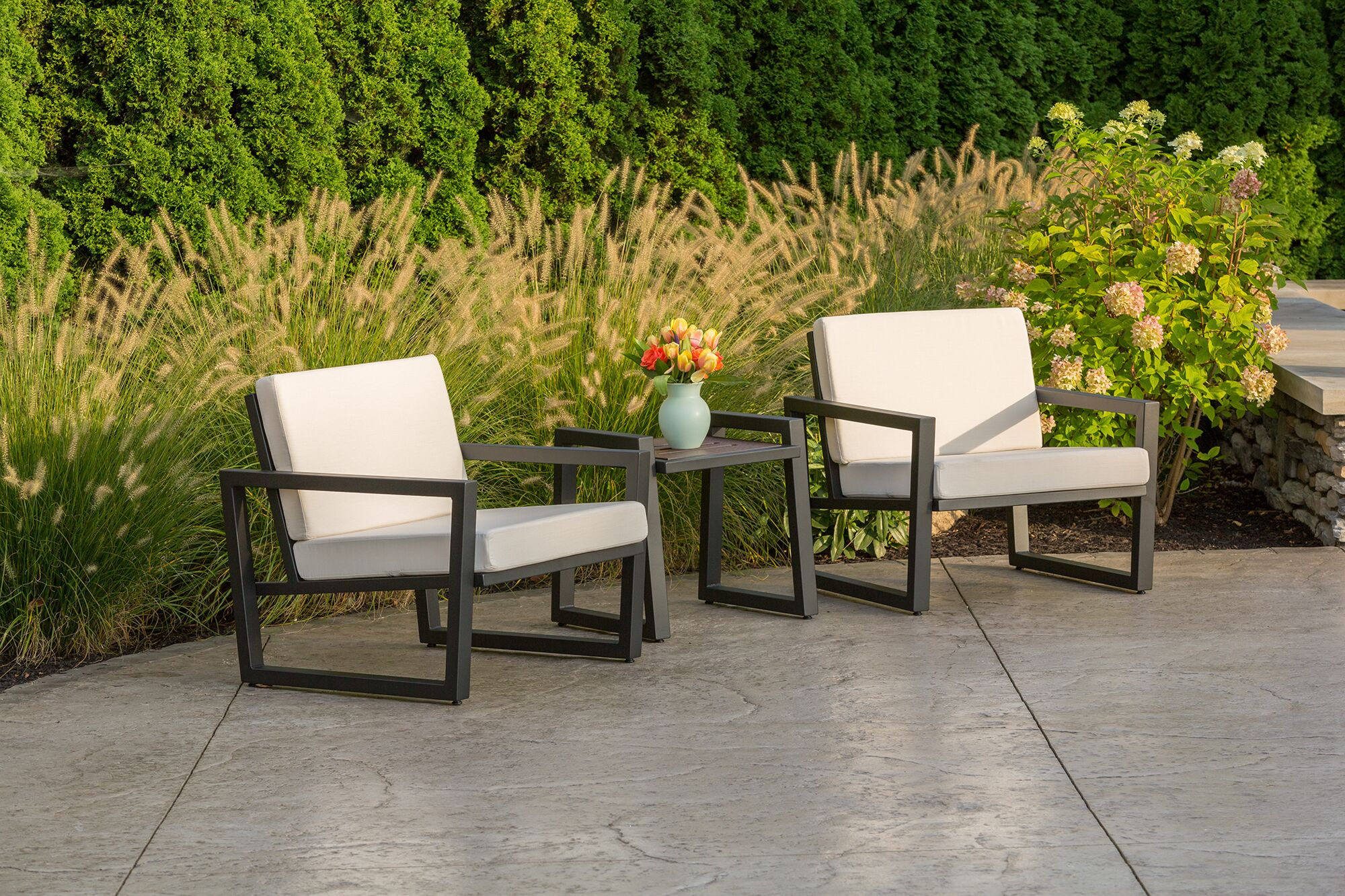 Vero 3 Piece Sunbrella Conversation Set with Cushions Color: Gloss Silver, Fabric: Charcoal