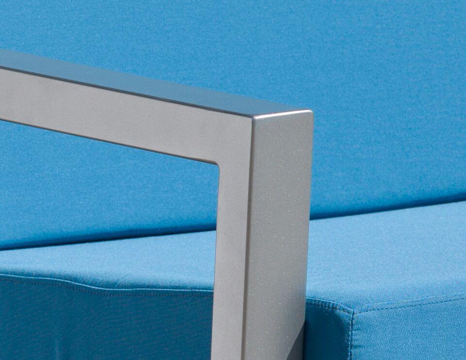 Vero 5 Piece Sunbrella Conversation Set with Cushions Color: Gloss Silver, Fabric: Sky Blue
