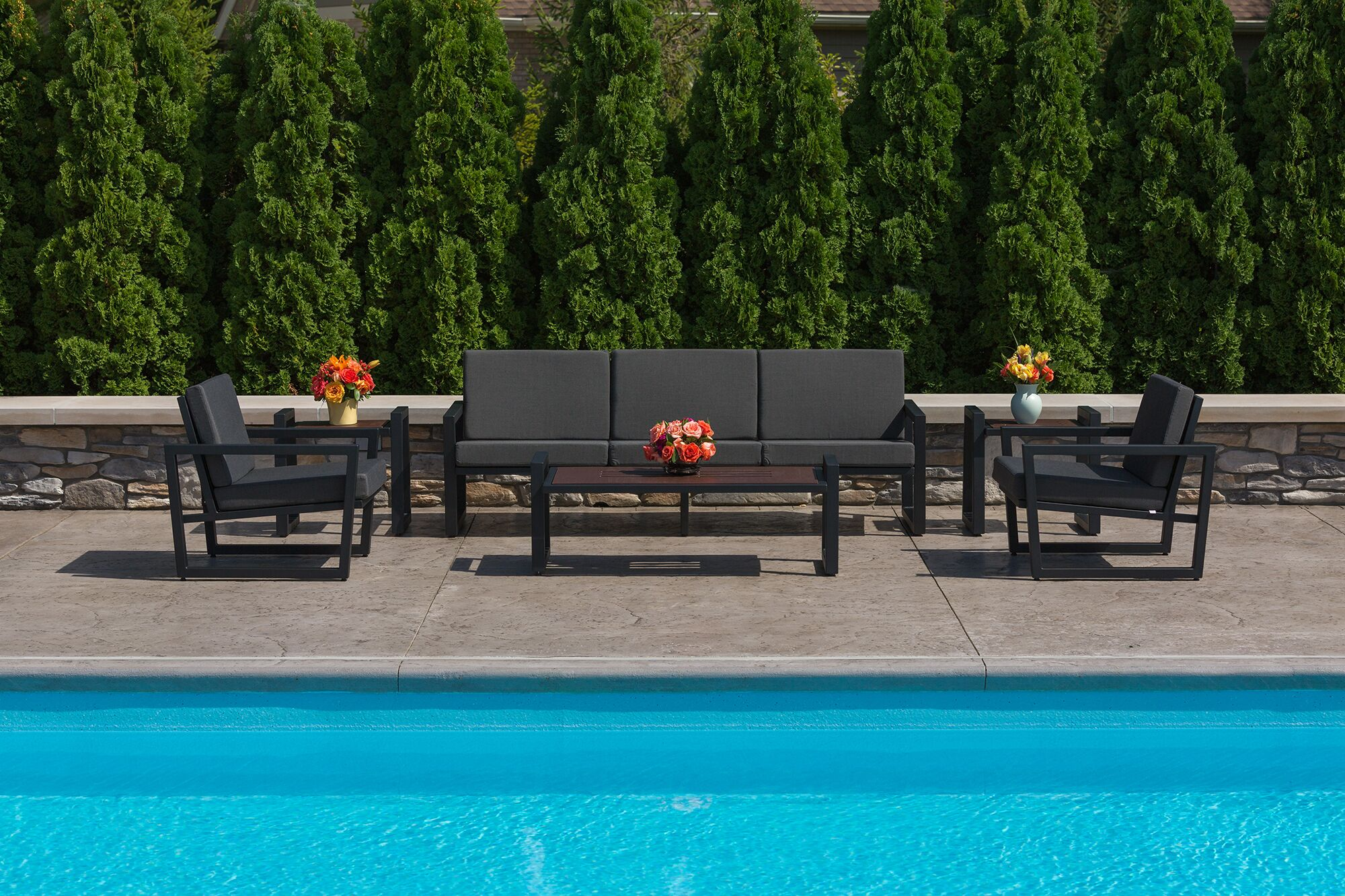 Vero 6 Piece Sunbrella Sofa Set with Cushions Fabric: Charcoal, Color: Textured Black