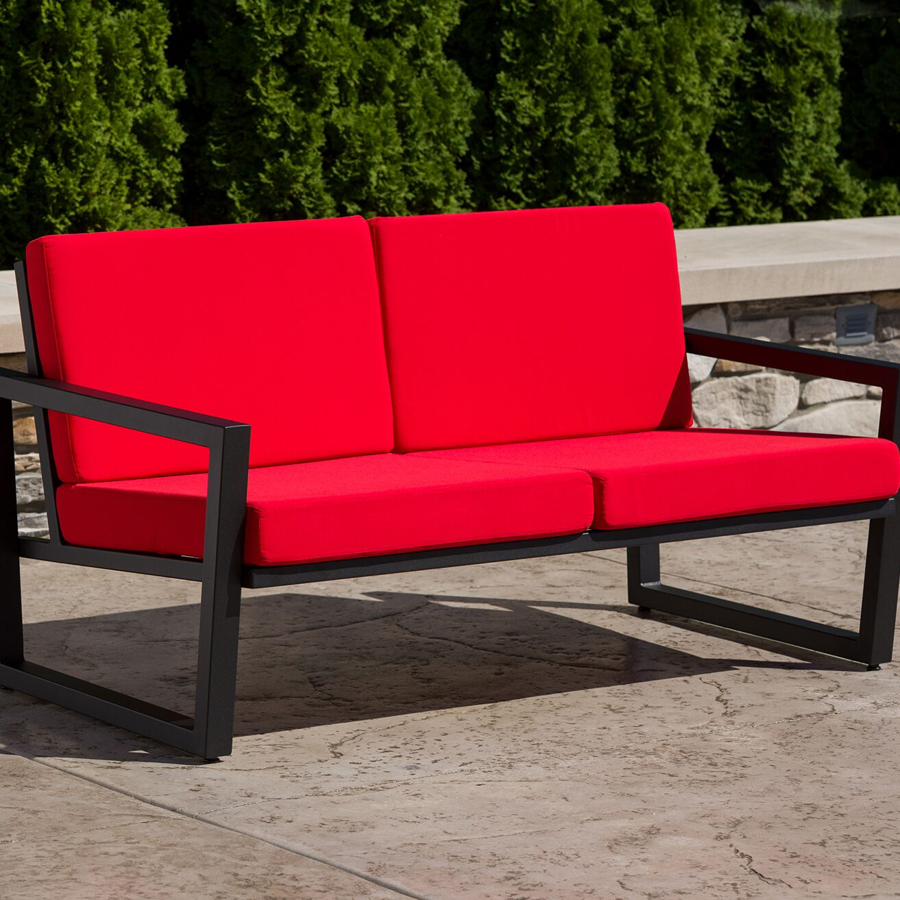 Vero Loveseat with Cushions Finish: Textured Black, Fabric: Logo Red