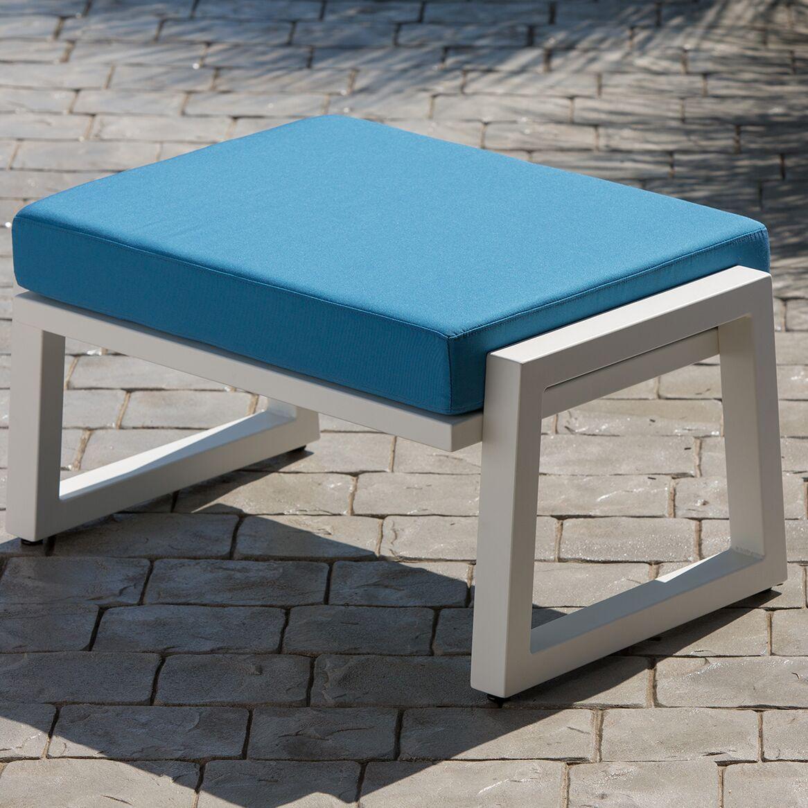 Vero Ottoman with Cushion Fabric: Sky Blue, Finish: Textured Black