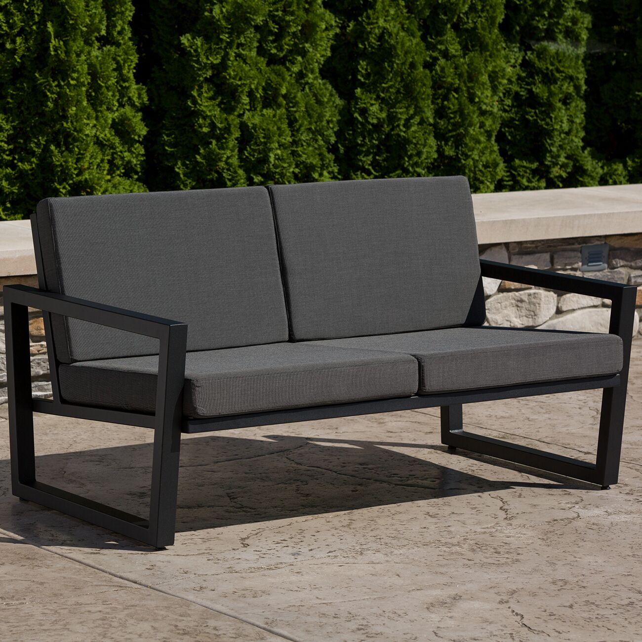 Vero Loveseat with Cushions Finish: Textured Black, Fabric: Charcoal