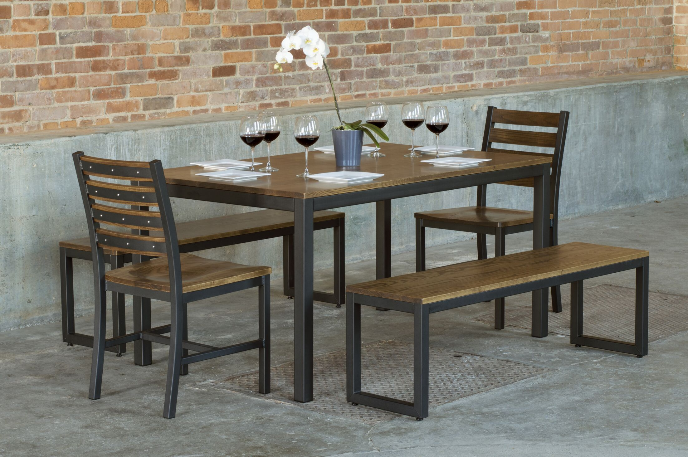 Loft  5 Piece Solid Wood Dining Set Top Finish: Chocolate Spice