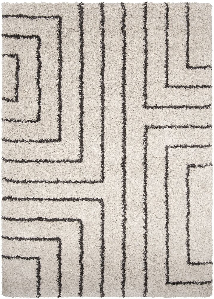 Swampscott White & Charcoal Area Rug Rug Size: Rectangle 7'10