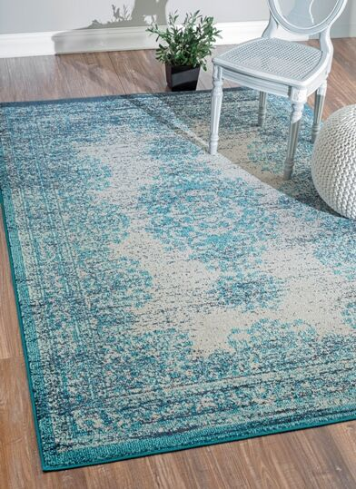 Hessle Vintage Blue Area Rug Rug Size: Rectangle 9' x 12'
