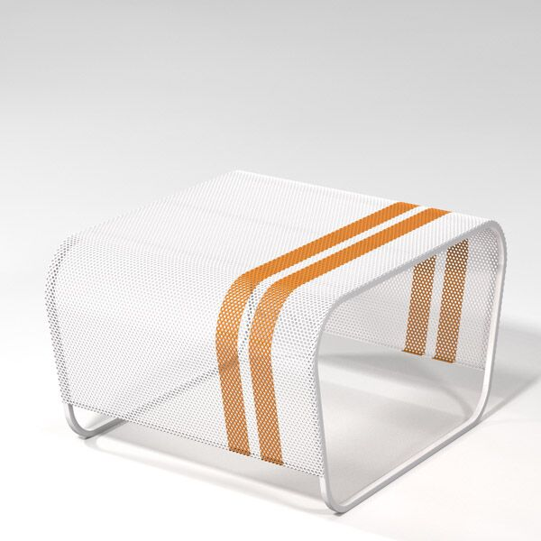 Lami Perforated Stainless Steel Side Table Finish: White with Orange Racing Stripes