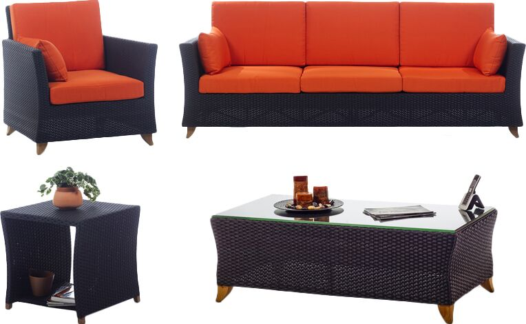 4 Piece Rattan Sofa Set with Cushions Fabric: Orange