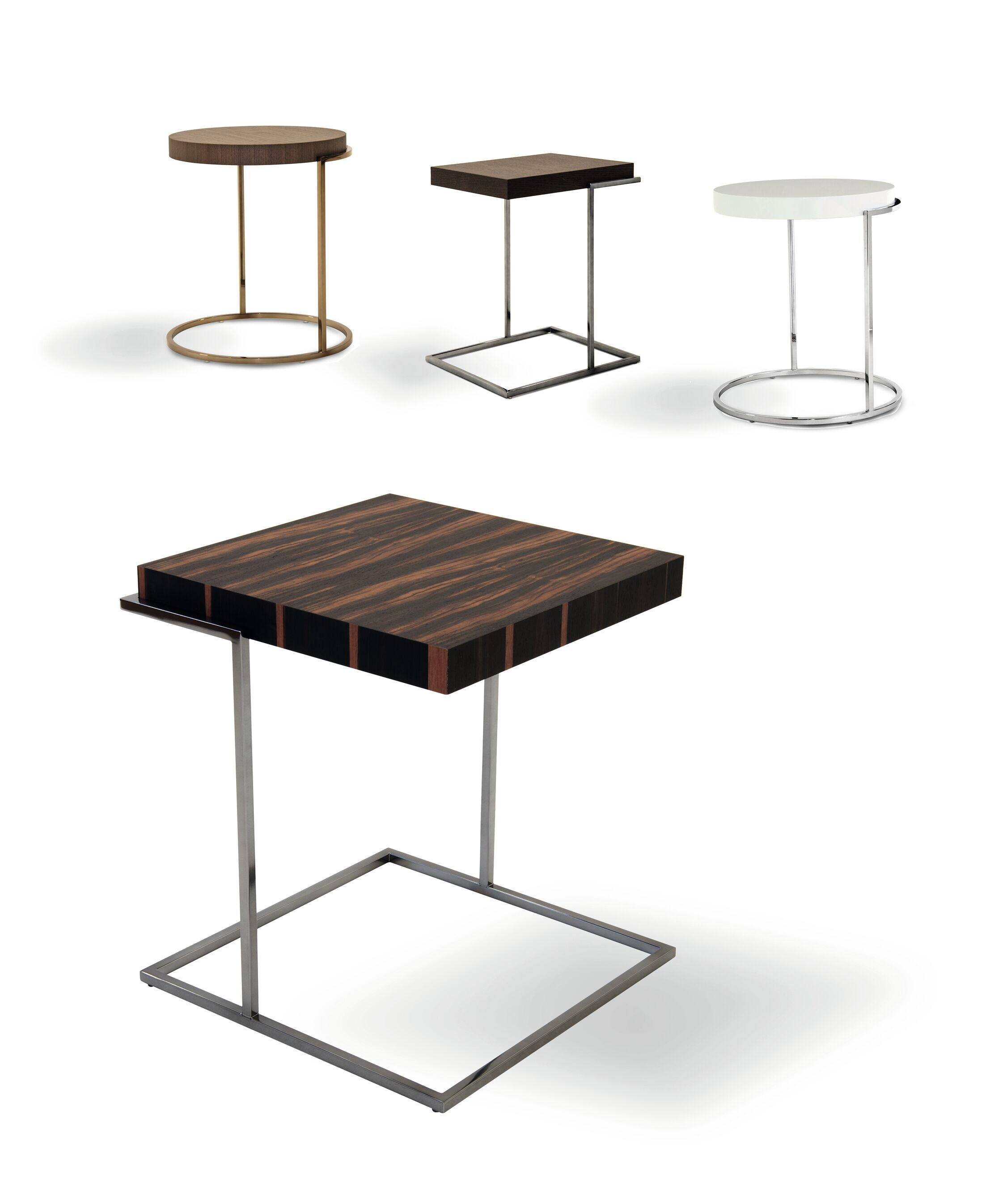 Servoquadro Square Coffee Table Table Top Color: Burnt� Oak, Table Base Color: Chrome