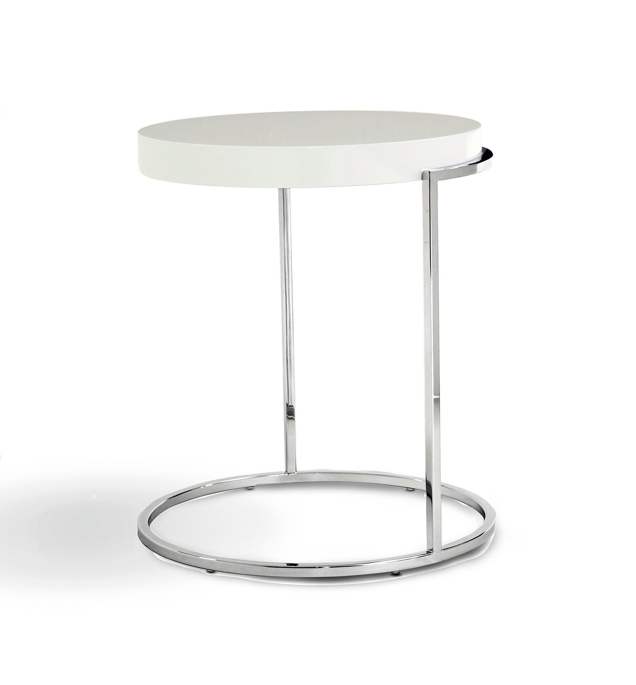 Servoquadro Square Coffee Table Table Base Color: Chrome, Table Top Color: High Gloss White