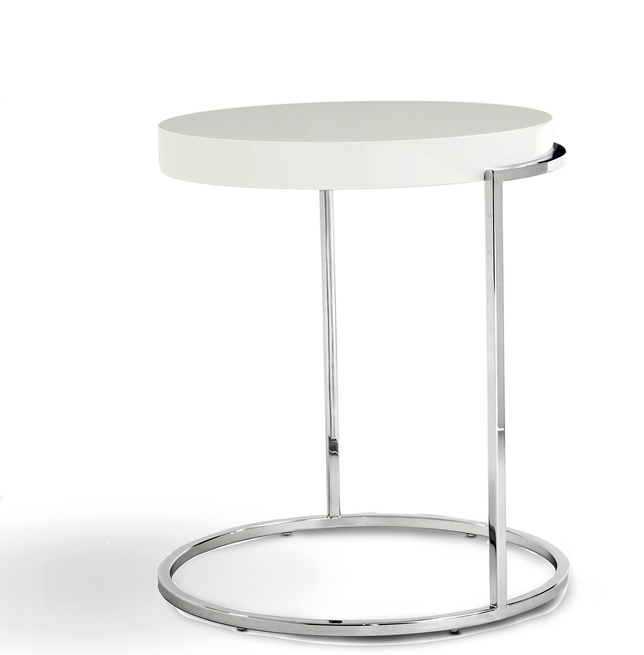 Servoquadro Round Coffee Table Table Base Color: Chrome, Table Top Color: High Gloss White
