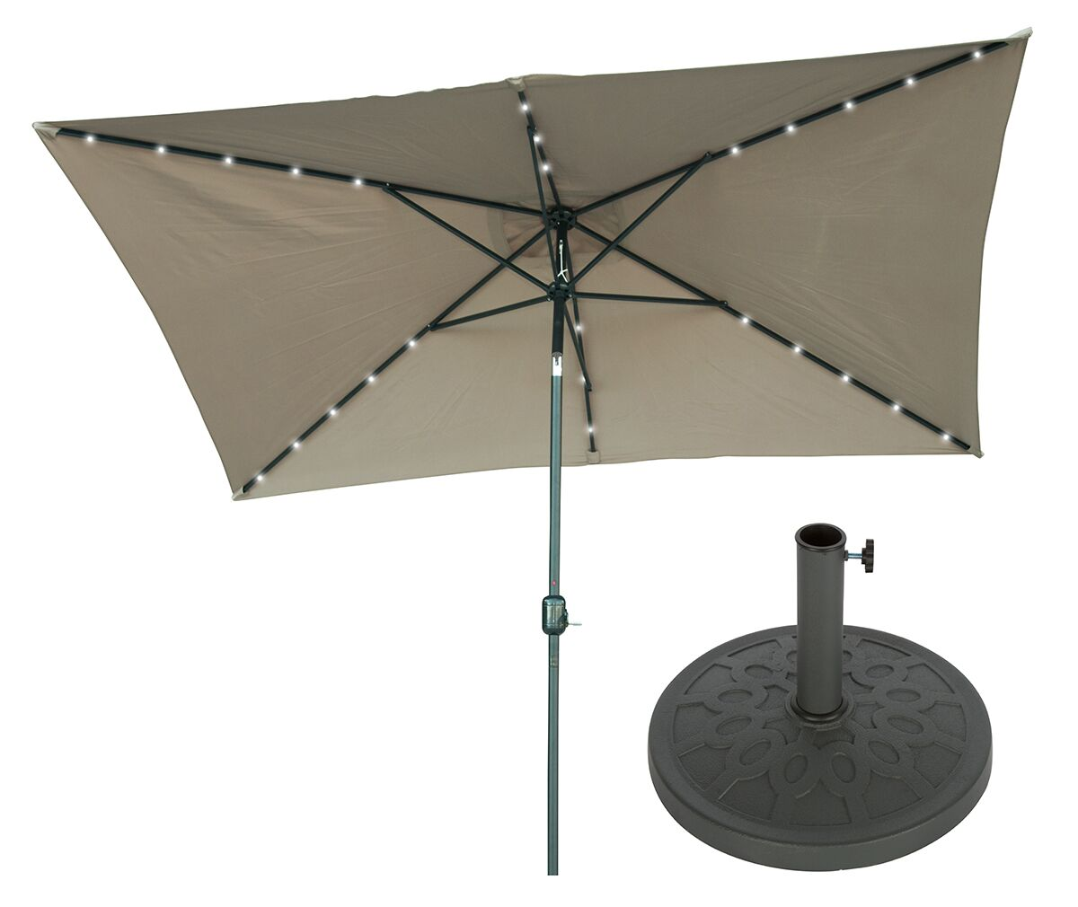 10' X 6.5' Rectangular Lighted Umbrella Fabric: Tan