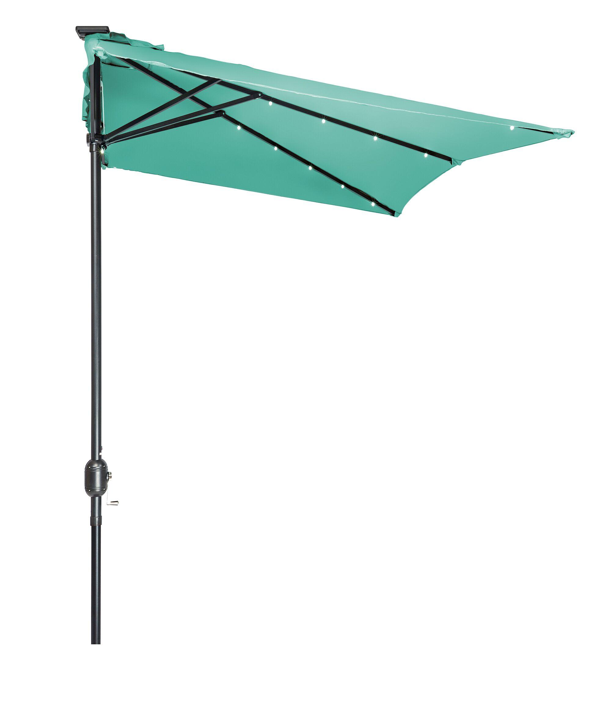 5' x 6.5' Lighted Half Umbrella Fabric: Teal
