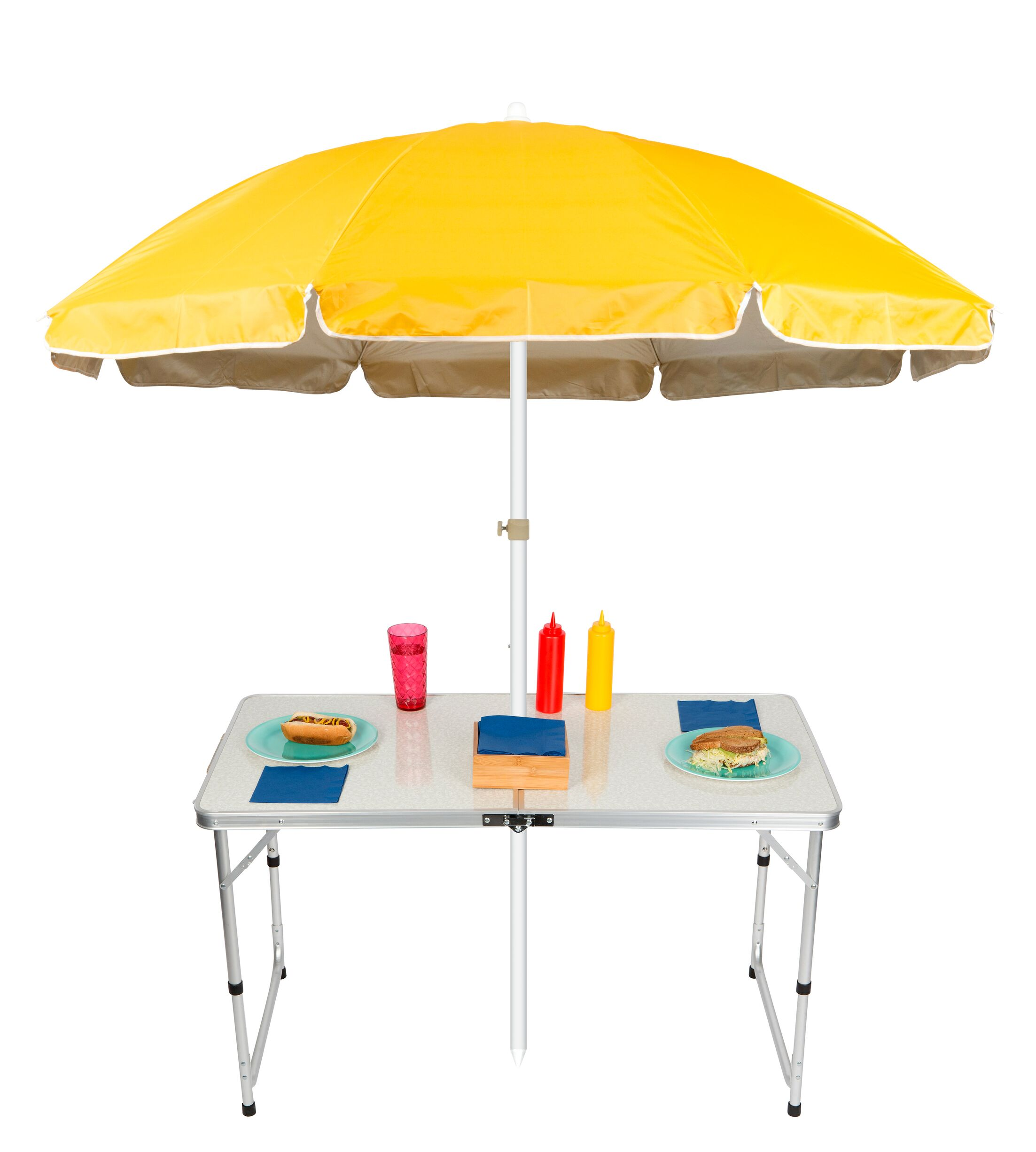 Adjustable Portable Folding Camp Table 6.5' Beach Umbrella Color: Yellow