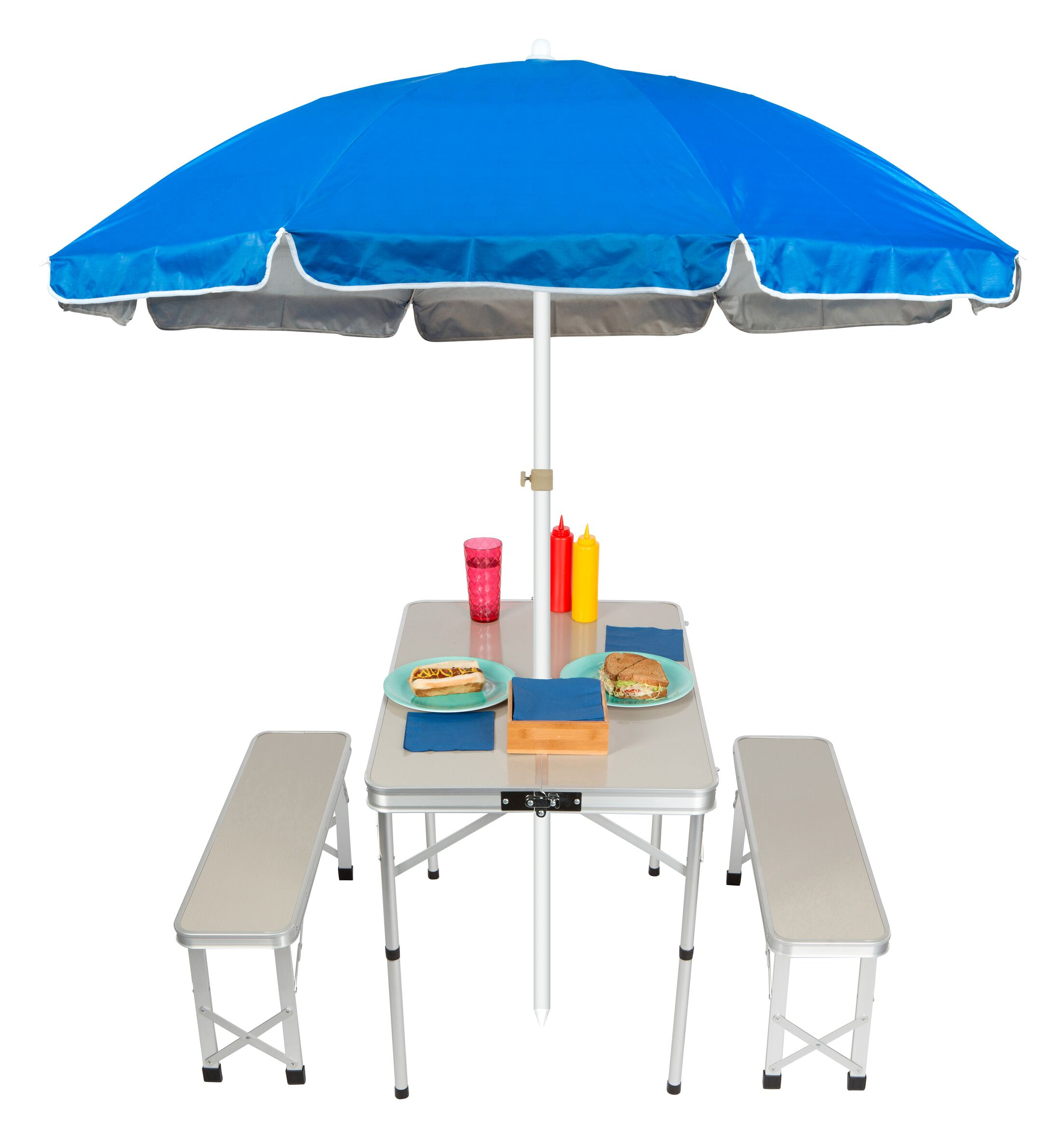 Folding Metal Camping Table Color: Blue