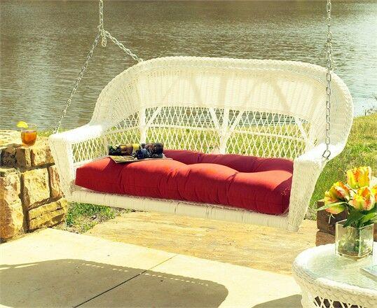 Camacho Porch Swing with Cushion Fabric: Sunbrella Red