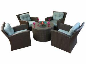 Sonoma 5 Piece Sunbrella Conversation Set with Cushions Fabric: Natural