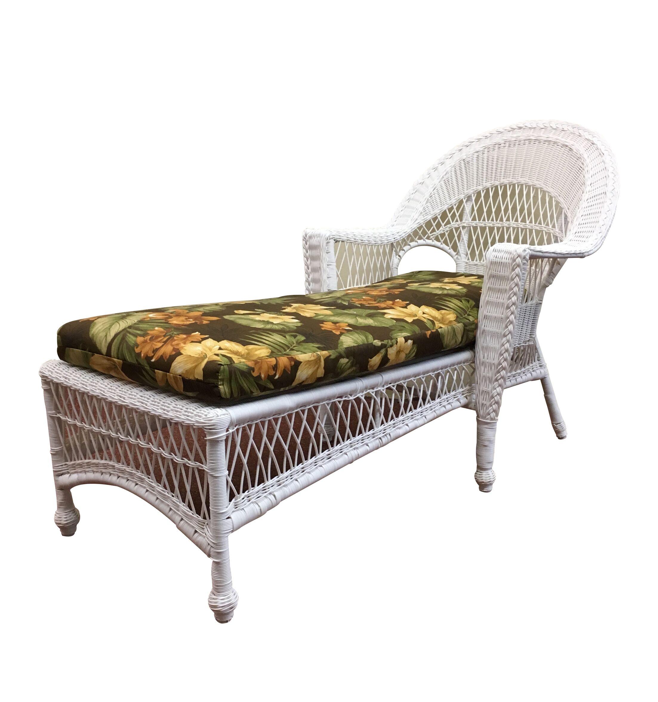 Camacho Chaise Lounge with Cushion Finish: White, Fabric: Callie Coffee